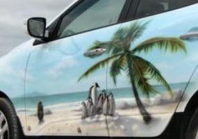 Рисунок природы на авто. Аэрография - фото.