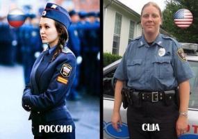 Полиция России и США. Политический юмор.